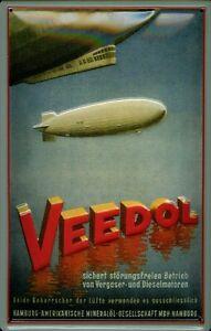 Veedol-Letrero-de-Metal-Placa-Signo-3D-en-Relieve-Arqueado-Tin-Firmar-20-X-30CM