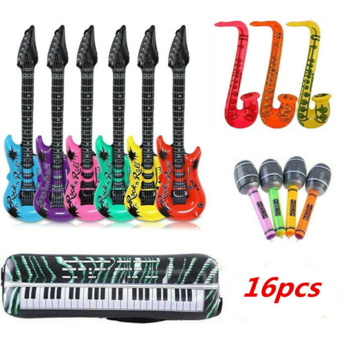 16pcs Inflatable Music Instrument Guitar Microphone Saxophone Blow Up Party Toys