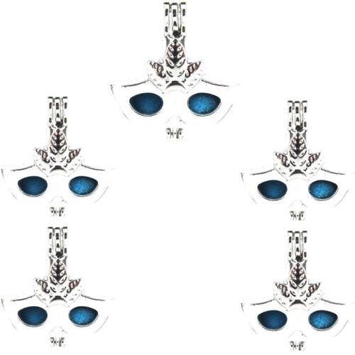 5PCS-L604 perles cage Parti Masque Diffuseur Médaillon Argent Clair Charme