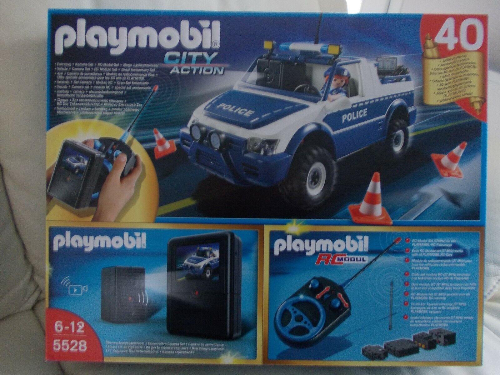 PLAYMOBIL 4X4 POLICE TELECOMMANDE AVEC CAMERA RARE  5528 EAU NEUF