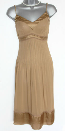 Midi Karen Brown Khaki 36 Uk8 Formal Dress Strappy Millen Silk Light Embellished 7r867qw