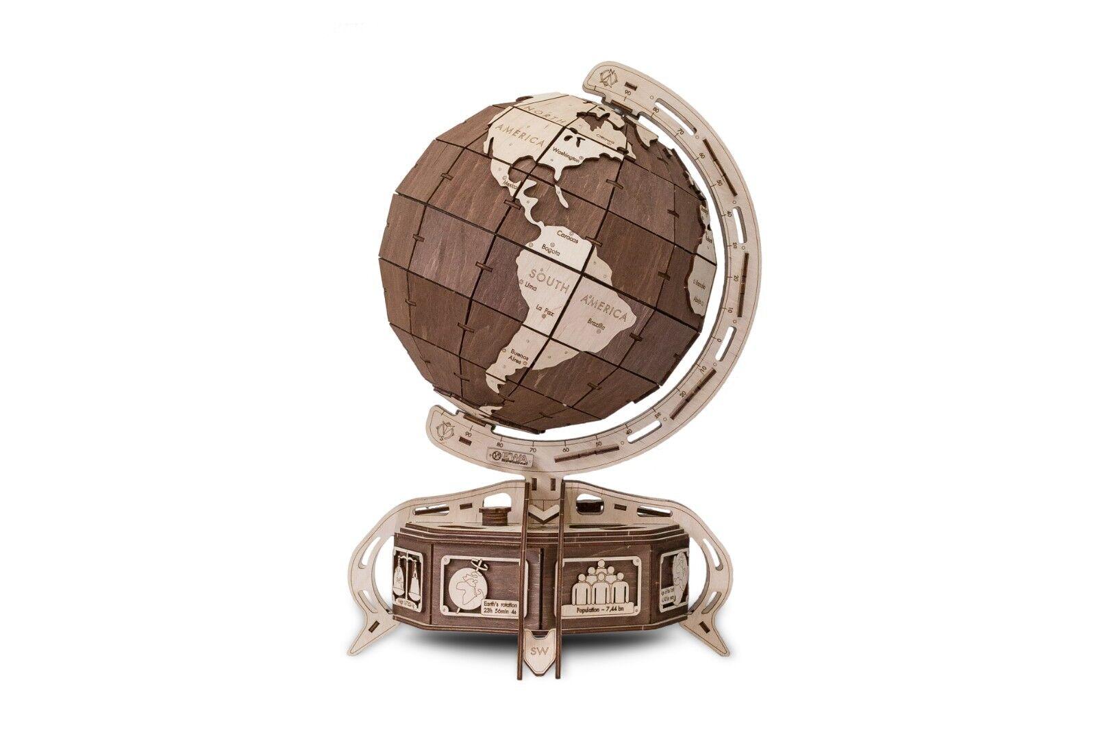 EWA Eco-Wood-Art Model Globe  marrone  3D Wooden Puzzle DIY Mechanical with Secret