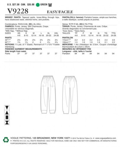Vogue... Vogue Ladies Easy Sewing Pattern 9228 Pull On Pants with Front Pockets