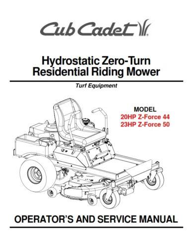 CUB CADET 20HP 23HP RIDING MOWER OPERATOR /& SERVICE MANUAL REPRINTED COMB BOUND
