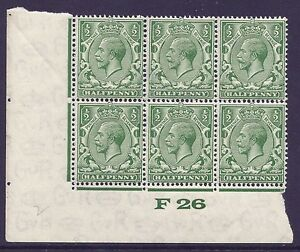 ½d Green Block Cypher Control F26 imperf UNMOUNTED MINT/MNH