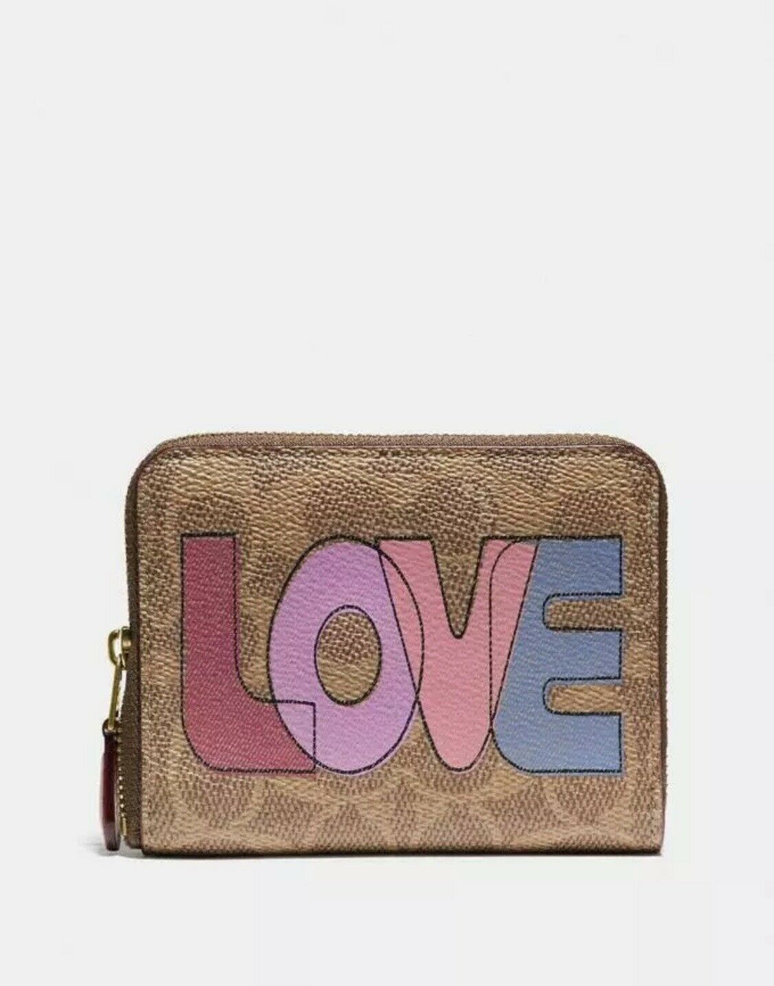 NWT Coach Small Zip Around Wallet In Signature Canvas With LOVE Print Detail NEW