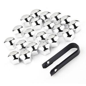 20x-17mm-Boulon-Ecrou-Chrome-de-Roue-Voiture-Cache-Bouchon-Couvercles