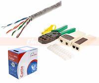 Lan Network Tool Kit Tester Crimper Rj45 Connectors + Cat5e Cat5 1000ft Cable