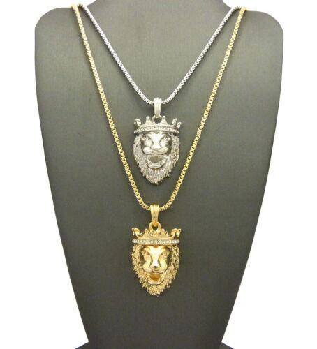 """Hip Hop King Crown Lion Head Pendant 24/"""",30/"""" Box Chain 2 Necklace Set RC1787GR"""