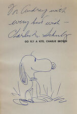 """ORIGINAL SIGNED DRAWING OF 'SNOOPY"""" BY CHARLES SCHULZ~W. PSA LETTER LOA"""