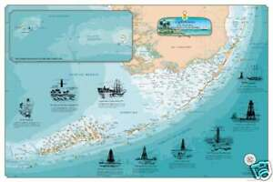 Printable Map Of Florida Keys.Details About Laminated Florida Keys Lighthouses Chart Nautical Art Print Map