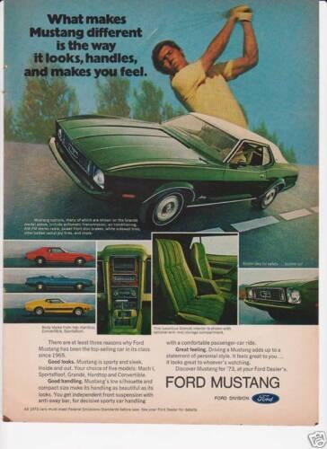 1973 FORD MUSTANG HARDTOP SPORTSROOF /& CONVERTIBLE /& INTERIOR /'73 original AD