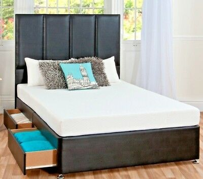 drawer & Headboard Lavish New Faux Leather Divan Bed Base 3ft/4ft/4ft6/5ft/6ft Beds & Mattresses