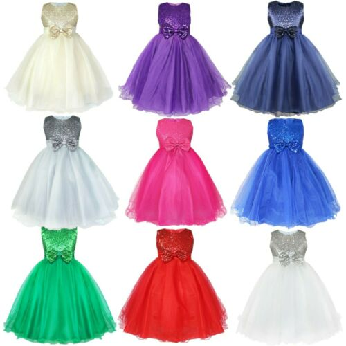 Baby Sequins Tutu Dress Flower Girl Princess Wedding  Birthday Formal Dress Gown