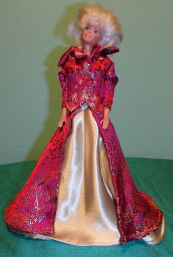 2 pc Pink Emboidered Satin & Gold Satin Gown w Jacket for Barbie Dolls MP64