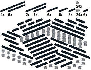 Lego-Technic-Small-Parts-M23-Achsen-amp-Muffen-Neues-Hellgrau