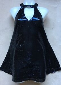 Lulu-s-Women-039-s-Halter-Sequins-Dress-SMALL-Navy-Blue-Sparkly-Sleeveless-NEW