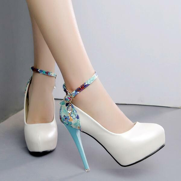 Decolte sandali chiaro azzurro cm  cinturino tacco plateau 12 cm azzurro simil pelle 8058 069087