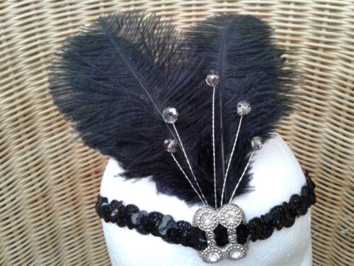 costume Gatsby Boho Downton 1920s Nero Copricapo//Copricapo diamante taglia