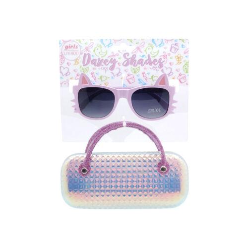 Girls Kids Sunglasses Cat Shape with Case Ages 6-12 Tween Girl New Sunglass