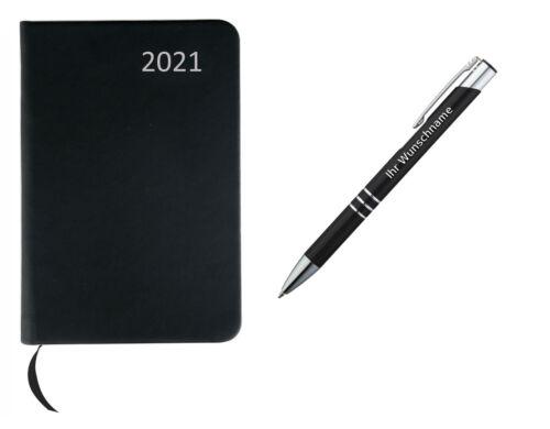 Metall Kugelschreiber mit Gravur schwarz Farbe Taschenkalender 2021 ca A7