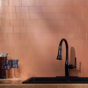 Details about Peel And Stick Tile Self Adhesive Copper Metal Accent Wall  Kitchen Backsplash