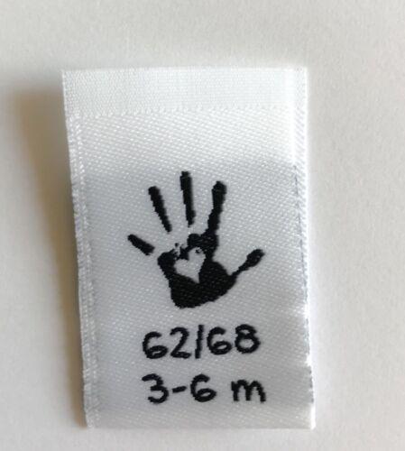 62//68 10 Grössenetiketten Baby Handmade Label Kleideretiketten Webetikett Gr