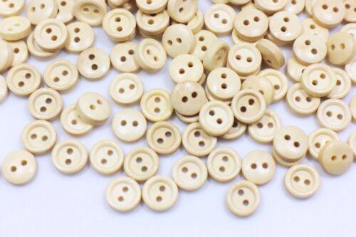 Mini en bois boutons beige Extra Small Round deux trous bord relevé À faire soi-même 9 mm 20pcs