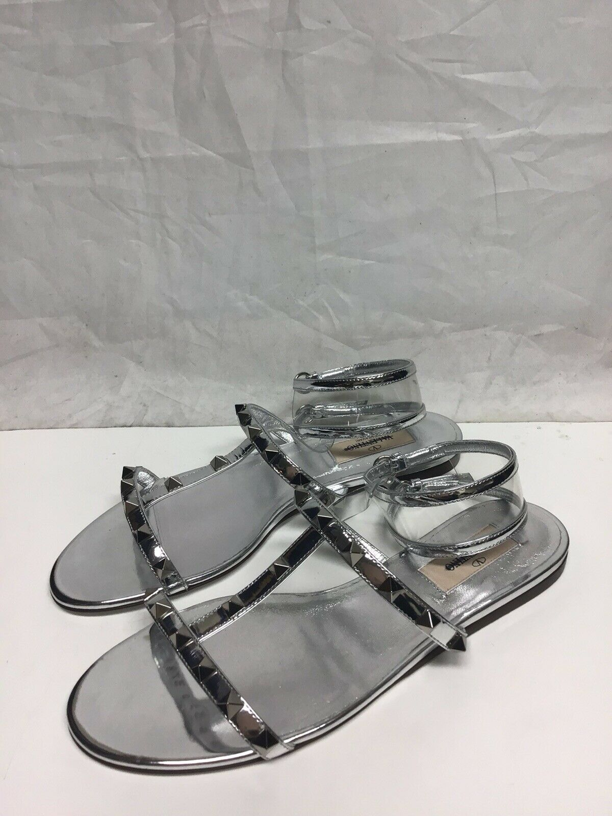 Valentino Studded Silver metallic Sandals EU39.5 40