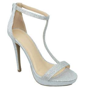 f8353e89a Wild Diva Women Ankle Strap High Heels Open Toe Rhinestone Silver ...