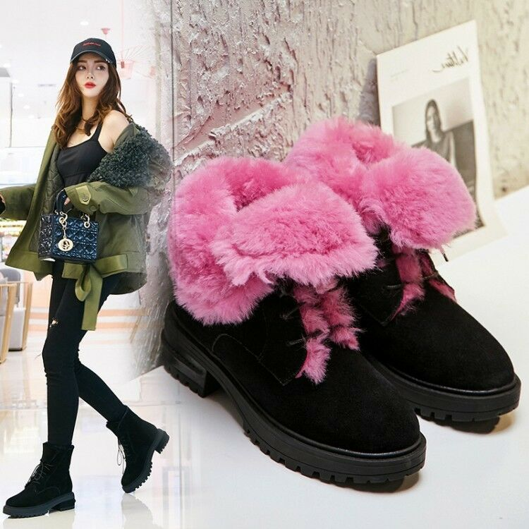 Womens New Fashion Suede Leather Fur Lined Lace Up Ankle Snow Boots shoes egqq