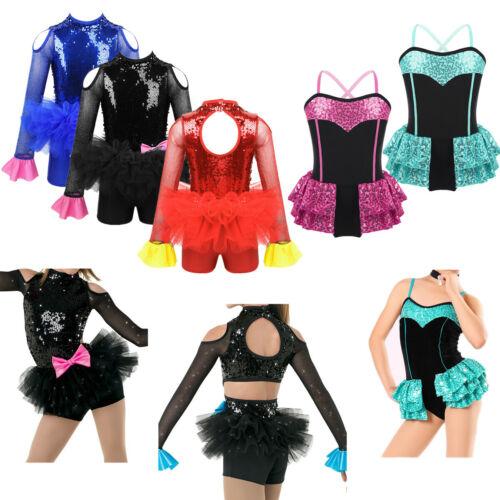 Girl Kid Ballet Jazz Modern Dance Leotard Dress Sequins Skate Performing Costume