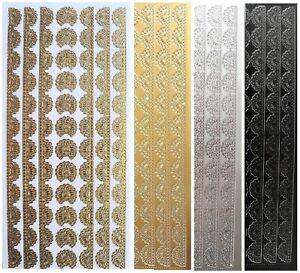 EMBOSSED SWIRL BORDERS Peel Off Stickers Metallic on Clear Sticker Card Making