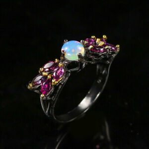 Opal Ring 925 Sterling Silver Size 8 /RT20-0073
