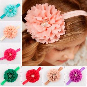 Baby Infant Girl Toddler Rhinestone Flower Headband Headwear Hair Band Accessory