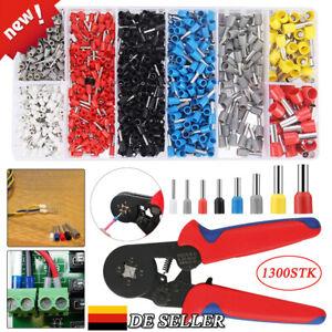 1300 teilig Set Crimpzange Aderendhülsen Zange 0,25-10mm² Kabelschuhe Presszange