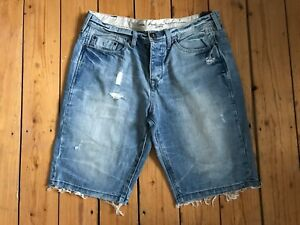 RIVER-ISLAND-MENS-DISTRESSED-LIGH-BLUE-DENIM-SHORTS-W32