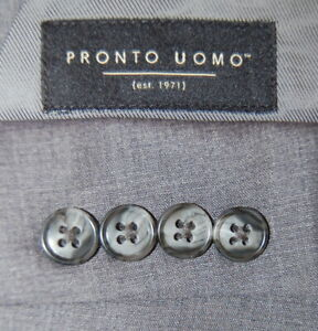 Mens 42 L Pronto Uomo Mid Grey Solid 3 Piece Slim Fit Suit Flat 36x31