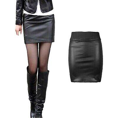 NEW WOMEN/'S BLACK PVC WET LOOK FAUX LEATHER TUBE BODYCON MINI SKIRT SIZE 8-26