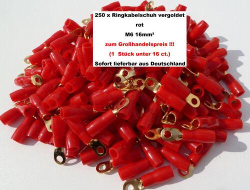 60202 250 x Bague AIV Câble Chaussure Rouge Plaqué Or 16 mmâ² m6 au prix de gros!!