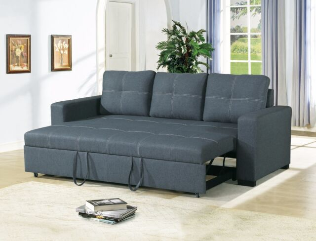 Pull Out Bed Navy Polyfiber Living Room