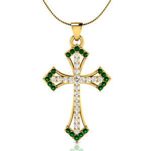 0-55-Ct-Green-Emerald-and-Sapphire-Cross-Pendant-18-034-Necklace-18k-Yellow-Gold-GP