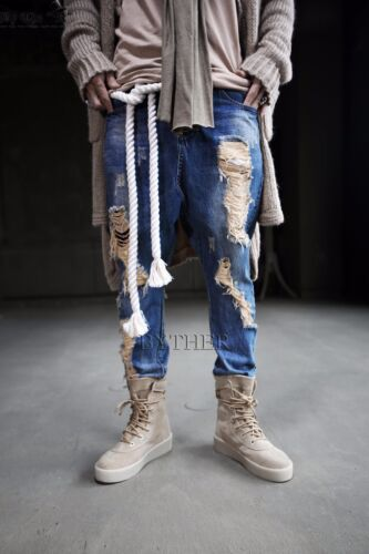 ByTheR Men/'s Fashion Gothic Style Twisted Shape Thick Solid Rope Custom Belt