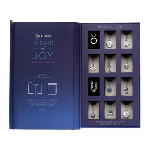 Advent Christmas Calendar Bracelet Necklace Crystal Charm Jewelry Set Gift
