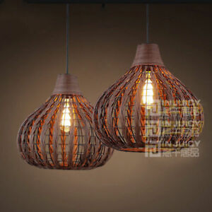 Details About Vintage Weave Rattan Ceiling Pendant Light Fixtures Bird Nest Bar Chandeliers