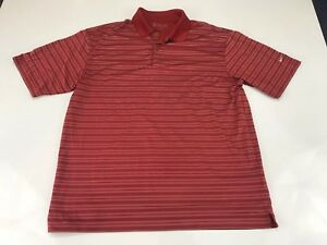 Nike-Golf-Mens-Polo-Shirt-Size-Large-Red-Striped-A119