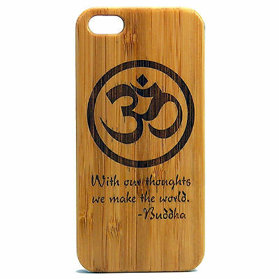 Buddha Quote Case for iPhone 7 Bamboo Wood Cover Om Symbol Meditation Awaken Zen