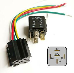 30Amp-12V-Heavy-Duty-5-Pin-Changeover-Relay-amp-Prewired-Base-Automotive-Car-Bike