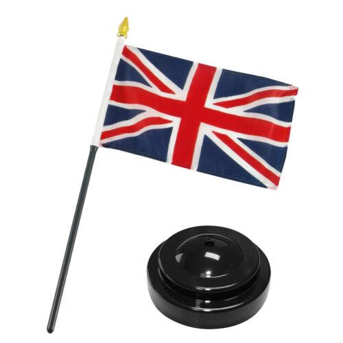 "UK United Kingdom 4/""x6/"" Flag Desk Set Table Stick Black Base"