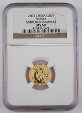 China 2003 50 Yuan 1/10 Oz 999 Gold Chinese Panda Coin NGC MS69 Mirrored Bamboo